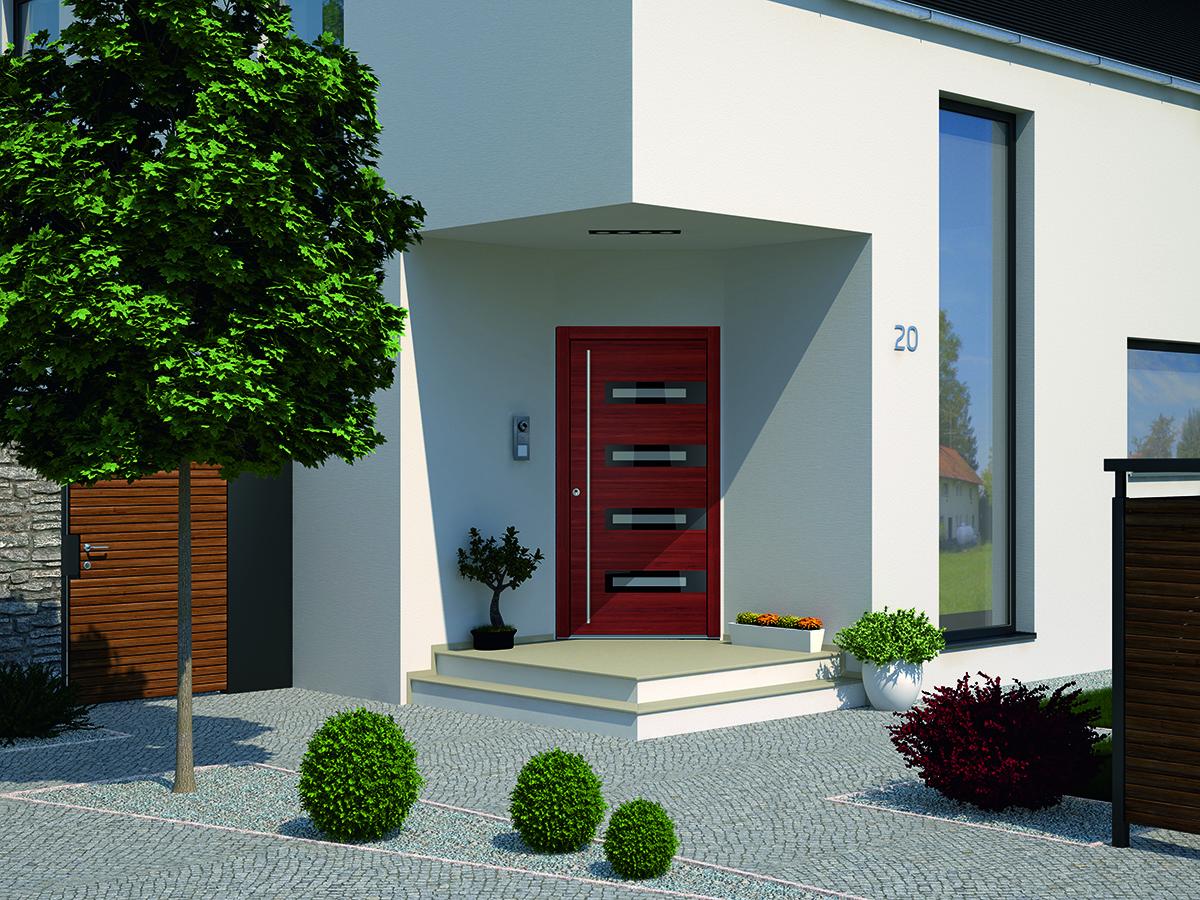 holz haust r aus rot braunem holz bauwiki. Black Bedroom Furniture Sets. Home Design Ideas