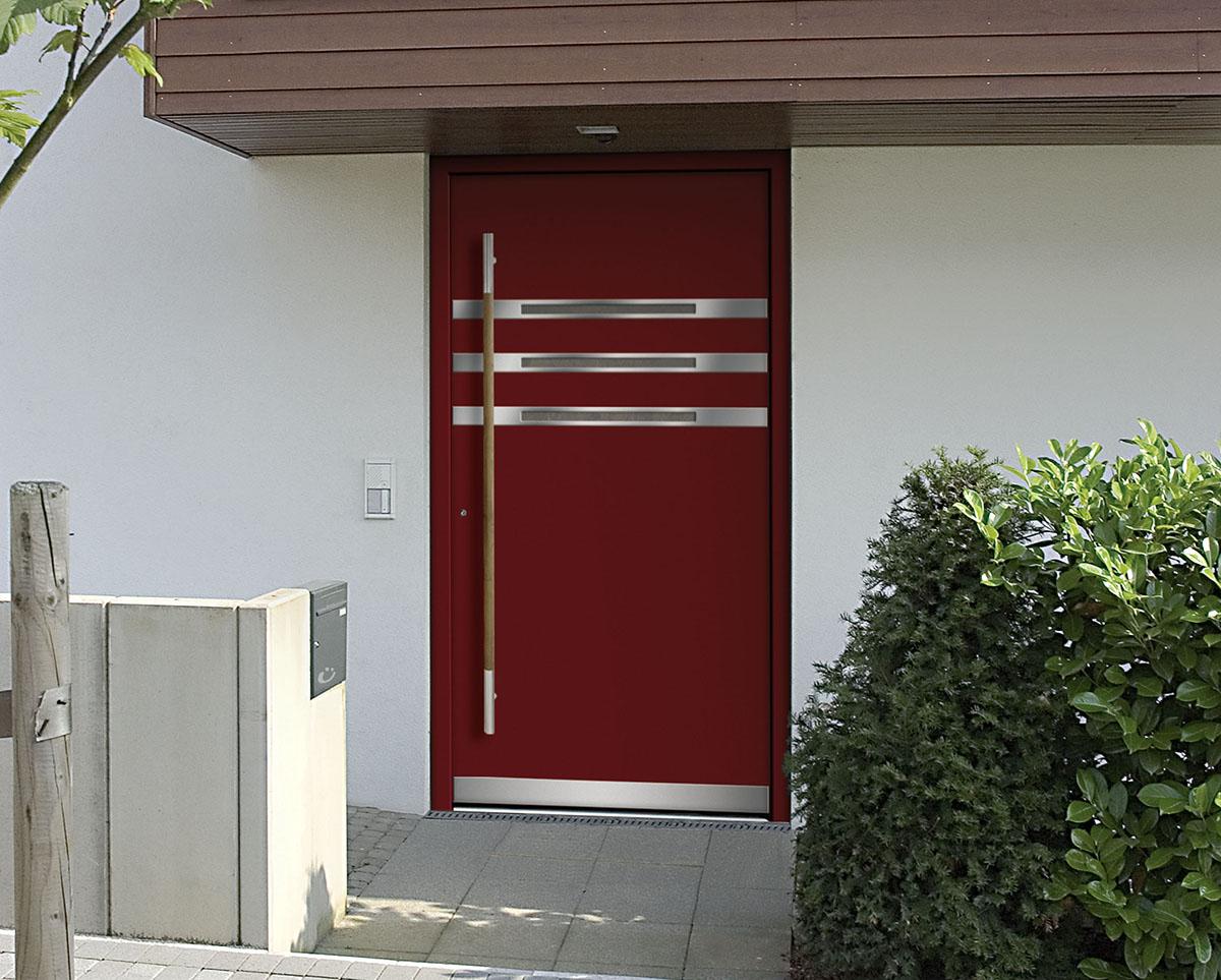 Haustüren modern glas  Rote Haustür mit Glas-Edelstahl Elementen - BAUWIKI
