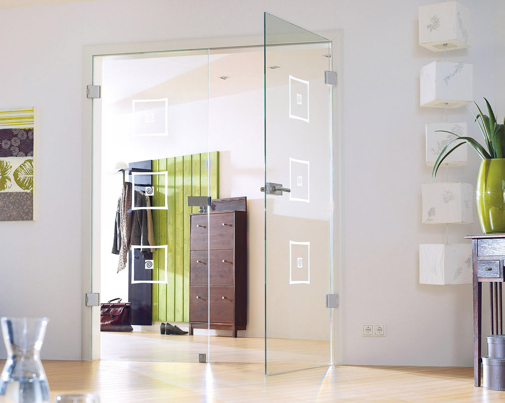 zweifl gelige klarglas t r mit matten quadratischen dekorelementen bauwiki. Black Bedroom Furniture Sets. Home Design Ideas