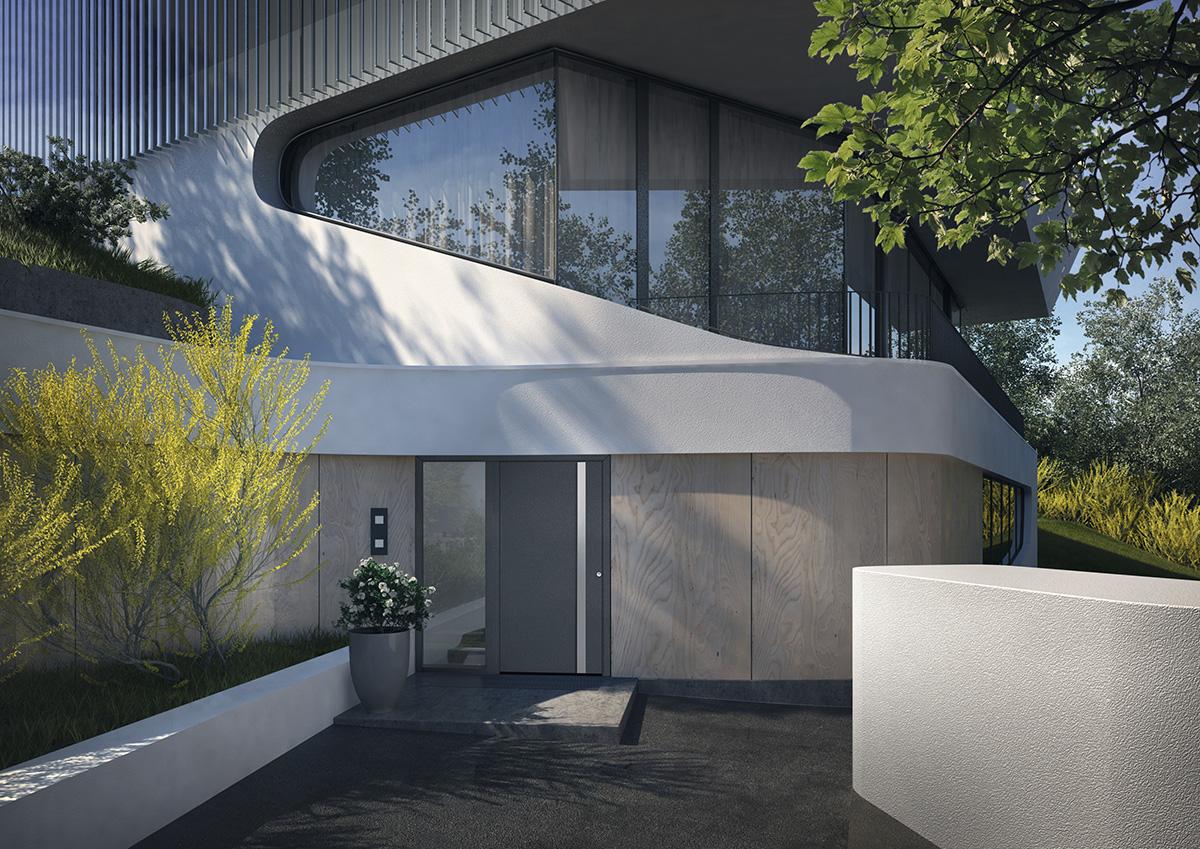 aluminium haust re mit griffleiste bauwiki. Black Bedroom Furniture Sets. Home Design Ideas