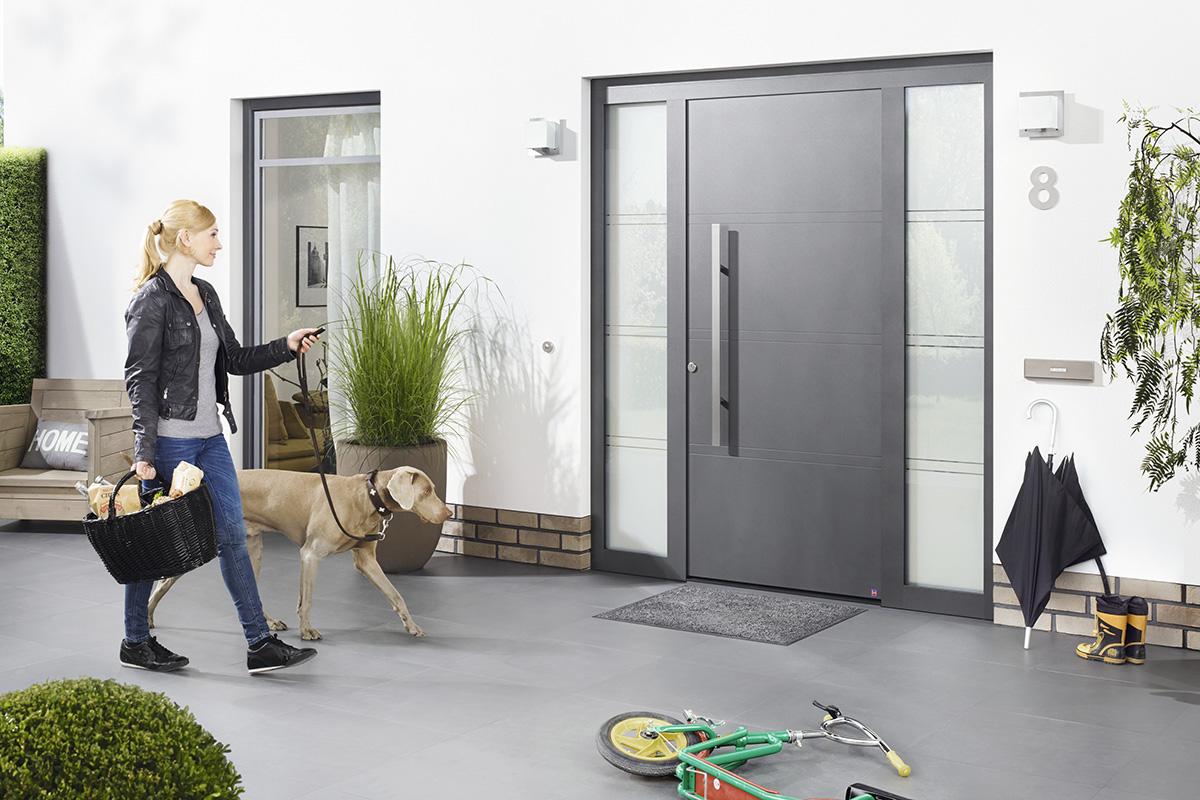 schlichte aluminium haust re in anthrazit bauwiki. Black Bedroom Furniture Sets. Home Design Ideas