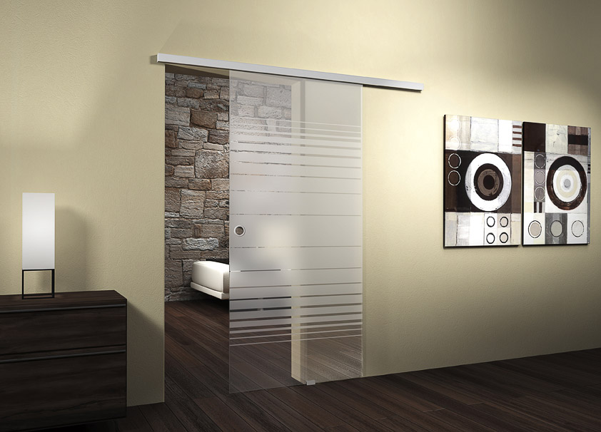 moderne schiebet r mit streifenmuster aus matt und klarglas bauwiki. Black Bedroom Furniture Sets. Home Design Ideas